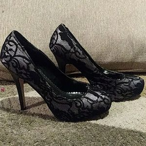 Bamboo Black and Silver High Heels 8.5